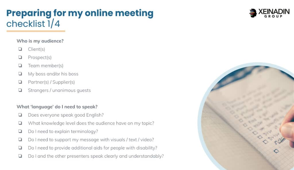 Checklist: preparing for online meetings - Audience and Language