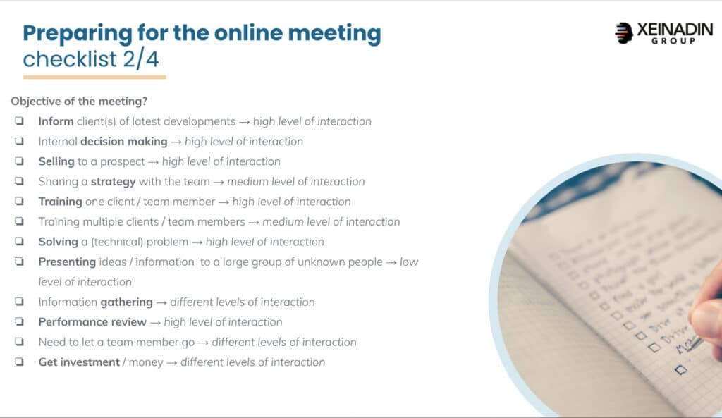 Checklist: preparing for online meetings - Objective of the meeting