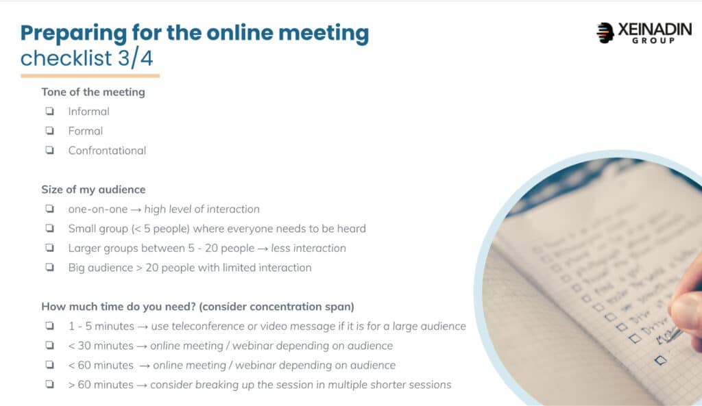 Checklist: preparing for online meetings - Tone, Size and Time